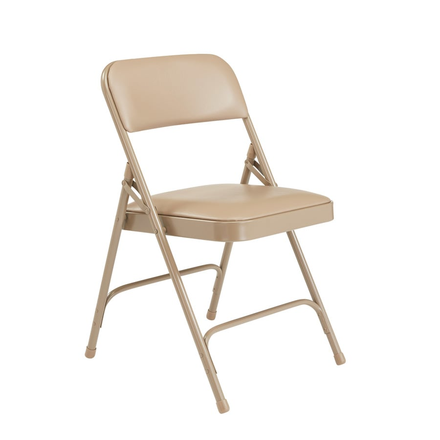 National Public Seating Set of 4 Indoor Steel Beige Banquet Folding Chair