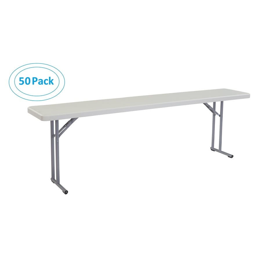 National Public Seating 50-Pack 96-in x 18-in Rectangle Steel Lightly Spotted Grey Folding Tables
