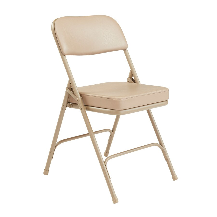 National Public Seating Set of 2 Indoor Steel Beige Banquet Folding Chair