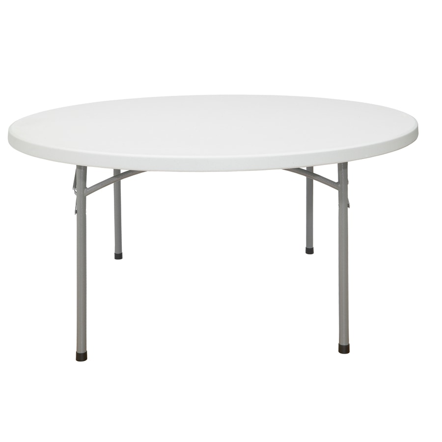 National Public Seating 71-in x 71-in Circle Steel Speckled Grey Folding Table