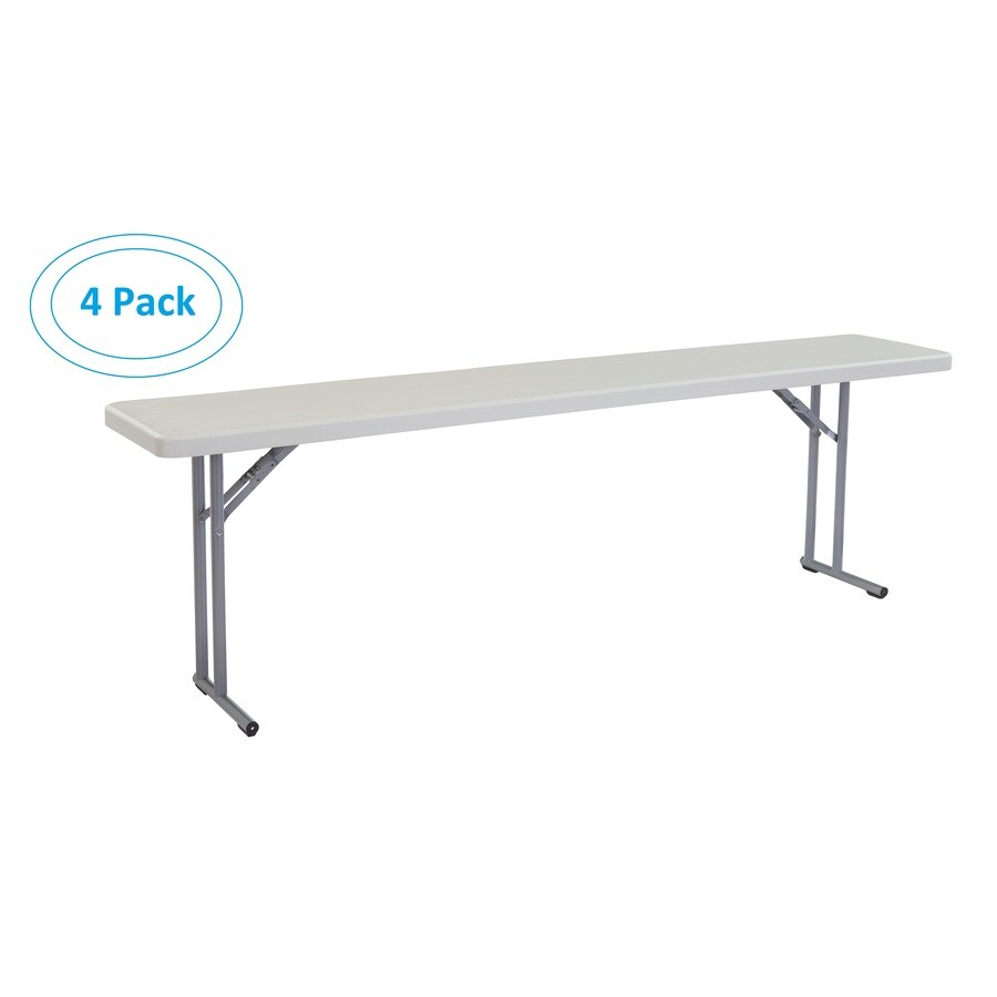 National Public Seating 4-Pack 96-in x 18-in Rectangle Steel Lightly Spotted Grey Folding Tables