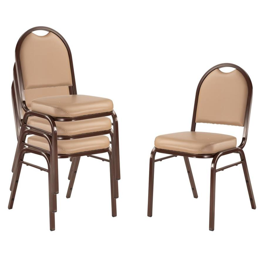 National Public Seating 4-Piece Mocha Frame Stackable Reception Chair