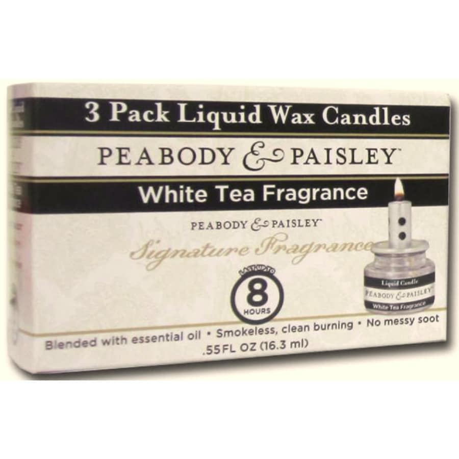 PEABODY & PAISLEY 3-Pack 0.55-oz White Tea Clear Tea Light Candle