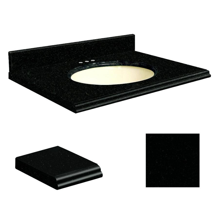 Transolid Absolute Black Granite Undermount Single Sink Bathroom Vanity Top (Common: 25-in x 19-in; Actual: 25-in x 19.25-in)