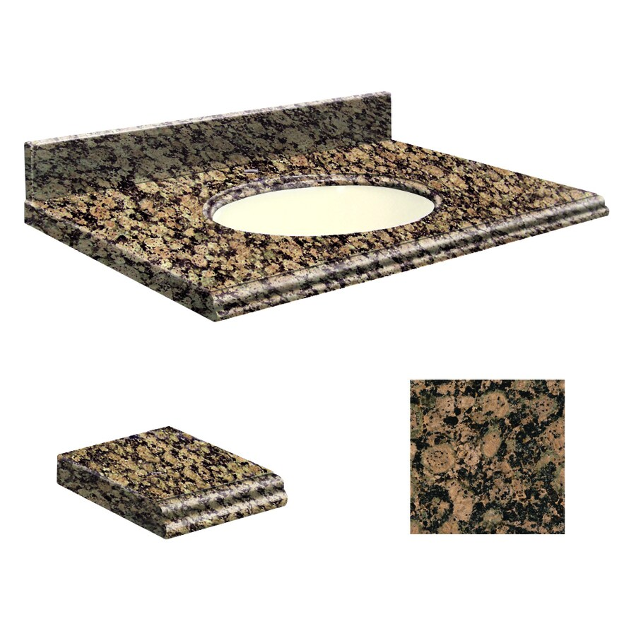 Transolid Baltic Brown Granite Undermount Single Sink Bathroom Vanity Top (Common: 25-in x 22-in; Actual: 25-in x 22.25-in)
