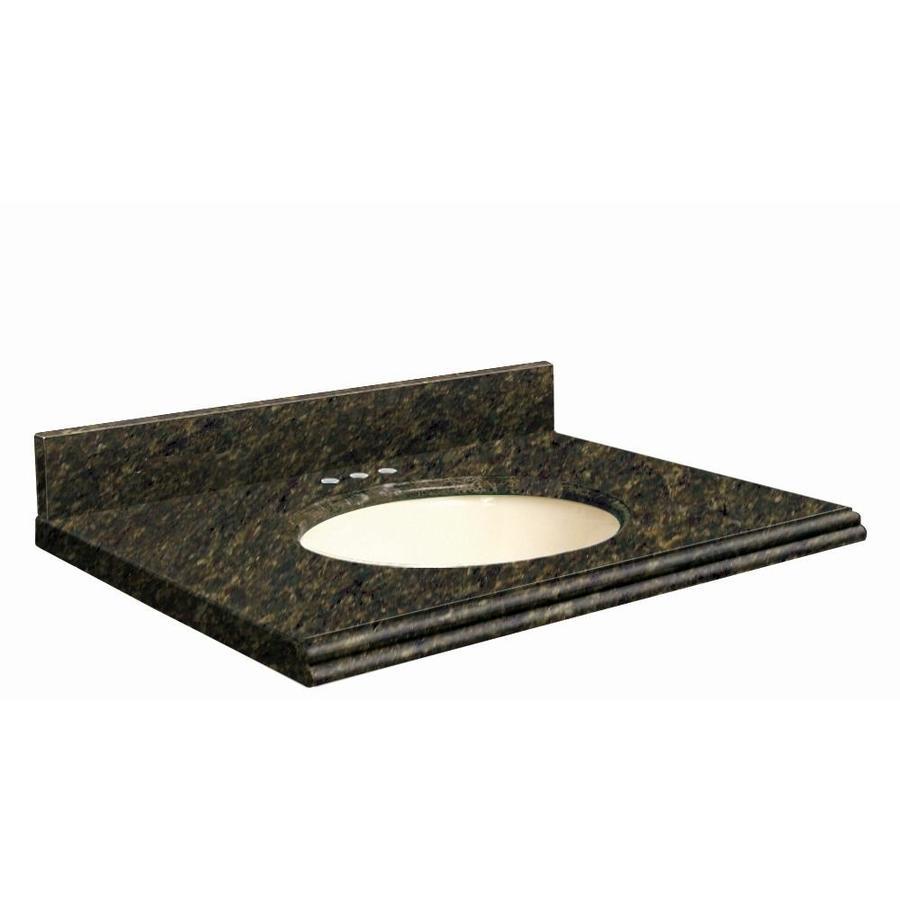 Transolid Uba Verde Granite Undermount Single Sink Bathroom Vanity Top (Common: 31-in x 22-in; Actual: 31-in x 22.25-in)