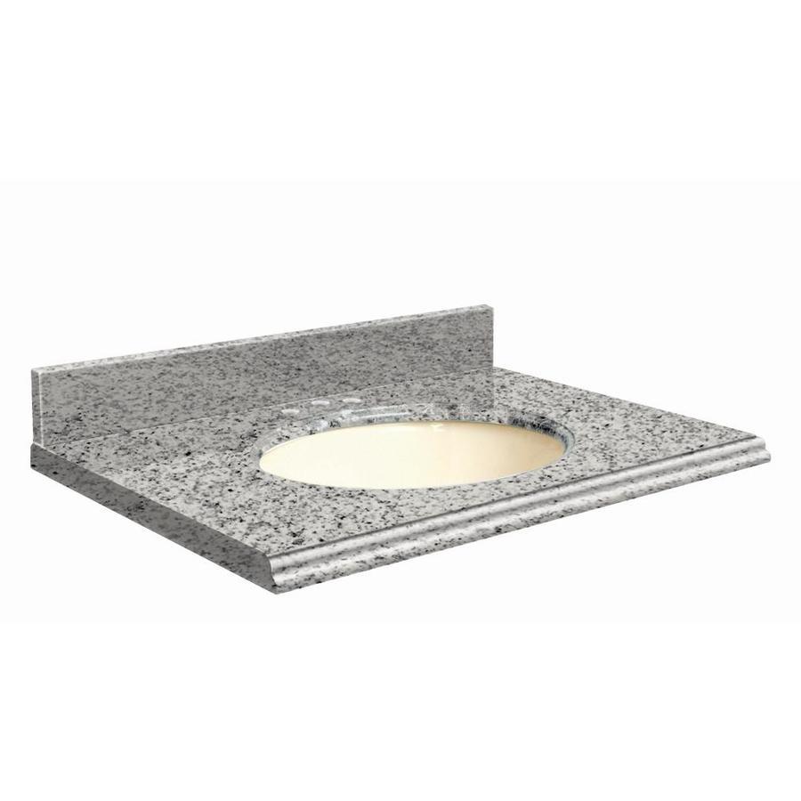 Transolid Rosselin White Granite Undermount Single Sink Bathroom Vanity Top (Common: 31-in x 22-in; Actual: 31-in x 22.25-in)