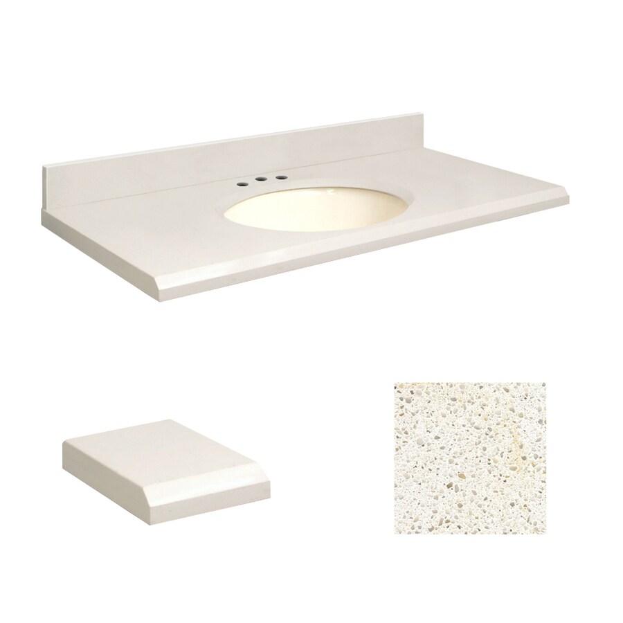 Transolid Milan White Quartz Undermount Single Sink Bathroom Vanity Top (Common: 37-in x 19-in; Actual: 37-in x 19.25-in)