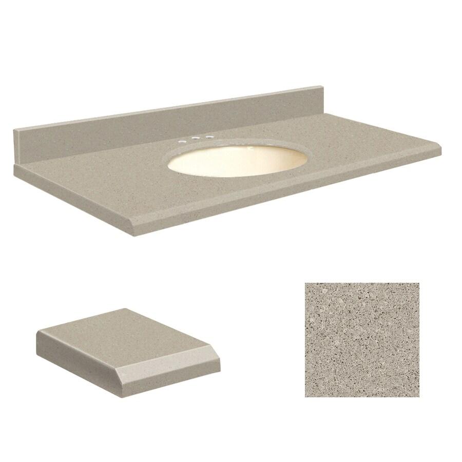 Transolid Olympia Gray Quartz Undermount Single Sink Bathroom Vanity Top (Common: 37-in x 19-in; Actual: 37-in x 19.25-in)