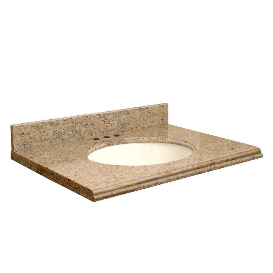 Transolid Giallo Veneziano Granite Undermount Single Sink Bathroom Vanity Top (Common: 37-in x 22-in; Actual: 37-in x 22.25-in)