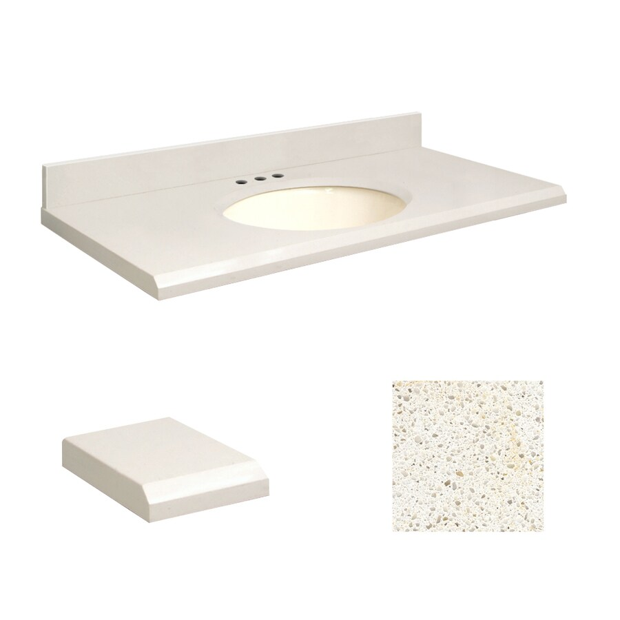 Transolid Milan White Quartz Undermount Single Sink Bathroom Vanity Top (Common: 37-in x 22-in; Actual: 37-in x 22.25-in)