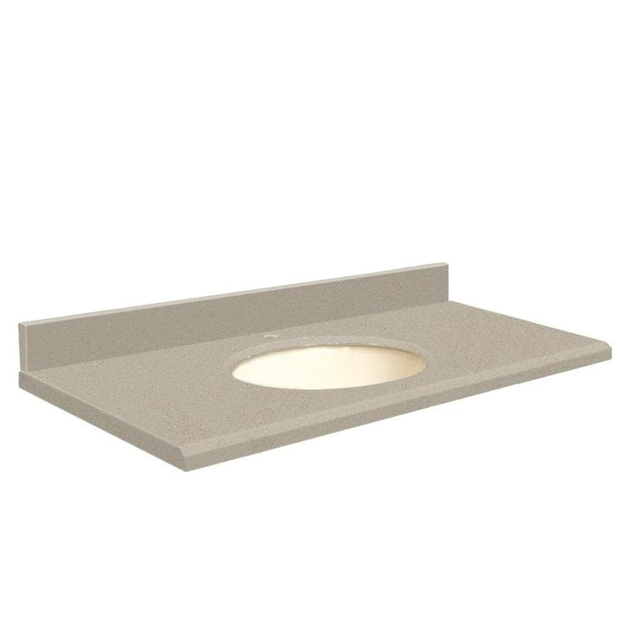 Transolid Olympia Gray Quartz Undermount Single Sink Bathroom Vanity Top (Common: 37-in x 22-in; Actual: 37-in x 22.25-in)