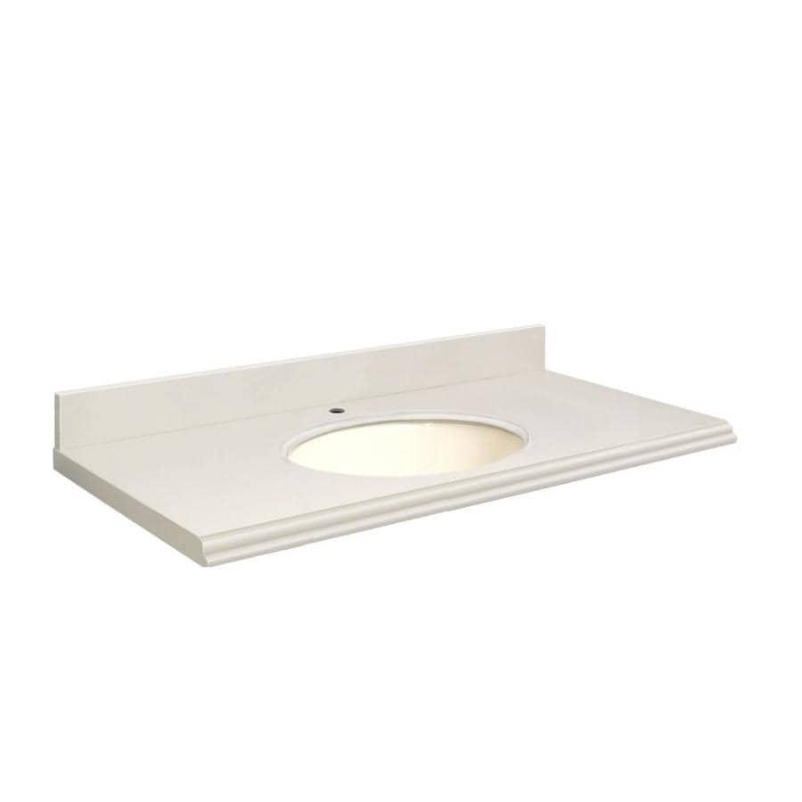 Transolid Milan White Quartz Undermount Single Sink Bathroom Vanity Top (Common: 49-in x 19-in; Actual: 49-in x 19-in)