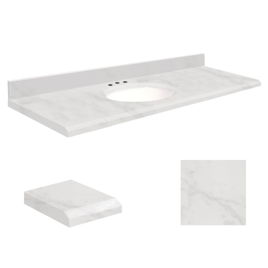 Transolid White Marble Natural Marble Undermount Single Sink Bathroom Vanity Top (Common: 61-in x 22-in; Actual: 61-in x 22-in)