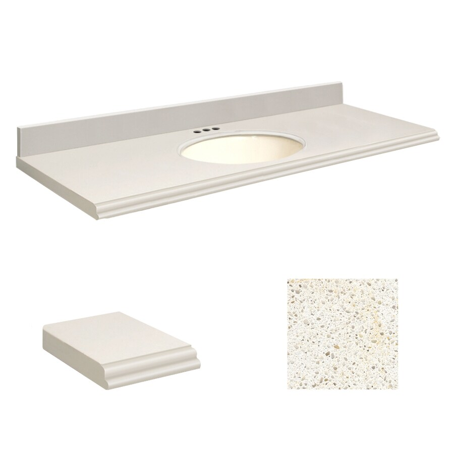 Transolid Milan White Quartz Undermount Single Sink Bathroom Vanity Top (Common: 61-in x 22-in; Actual: 61-in x 22.25-in)