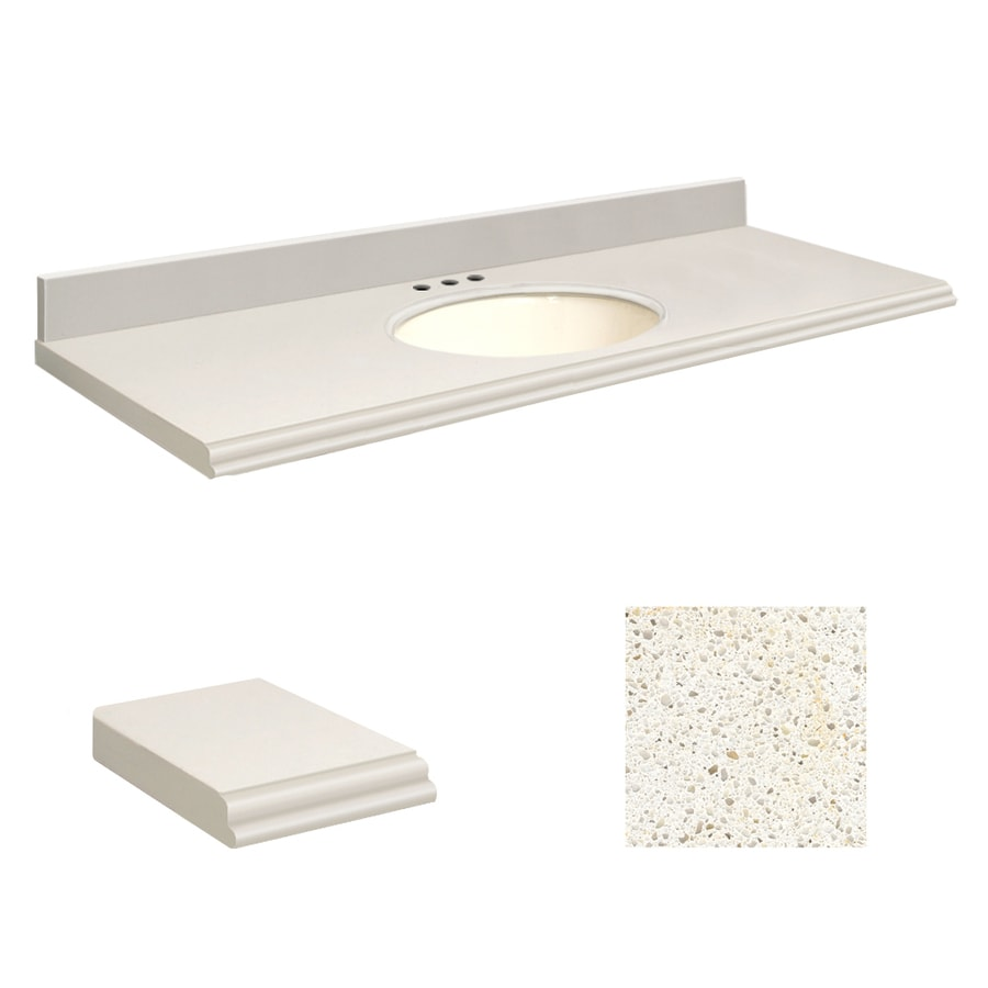 Transolid Milan White Quartz Undermount Single Sink Bathroom Vanity Top (Common: 61-in x 22-in; Actual: 61-in x 22.25-in)