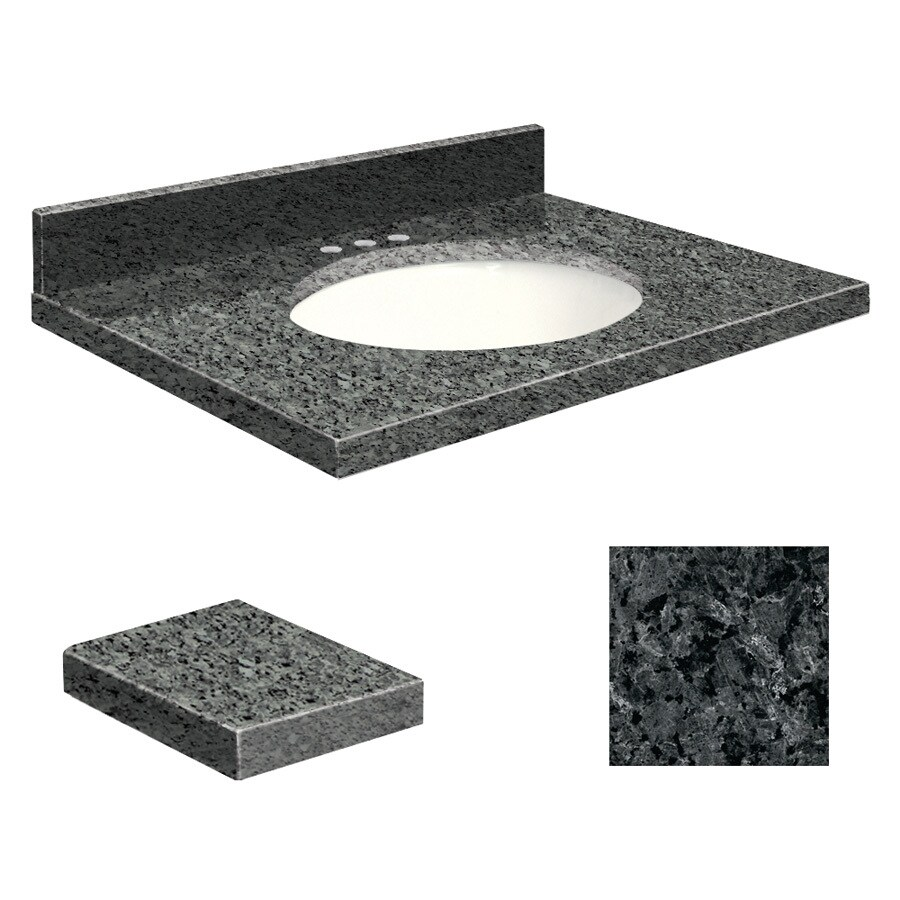 Transolid Blue Pearl Granite Undermount Single Sink Bathroom Vanity Top (Common: 25-in x 19-in; Actual: 25-in x 19.25-in)