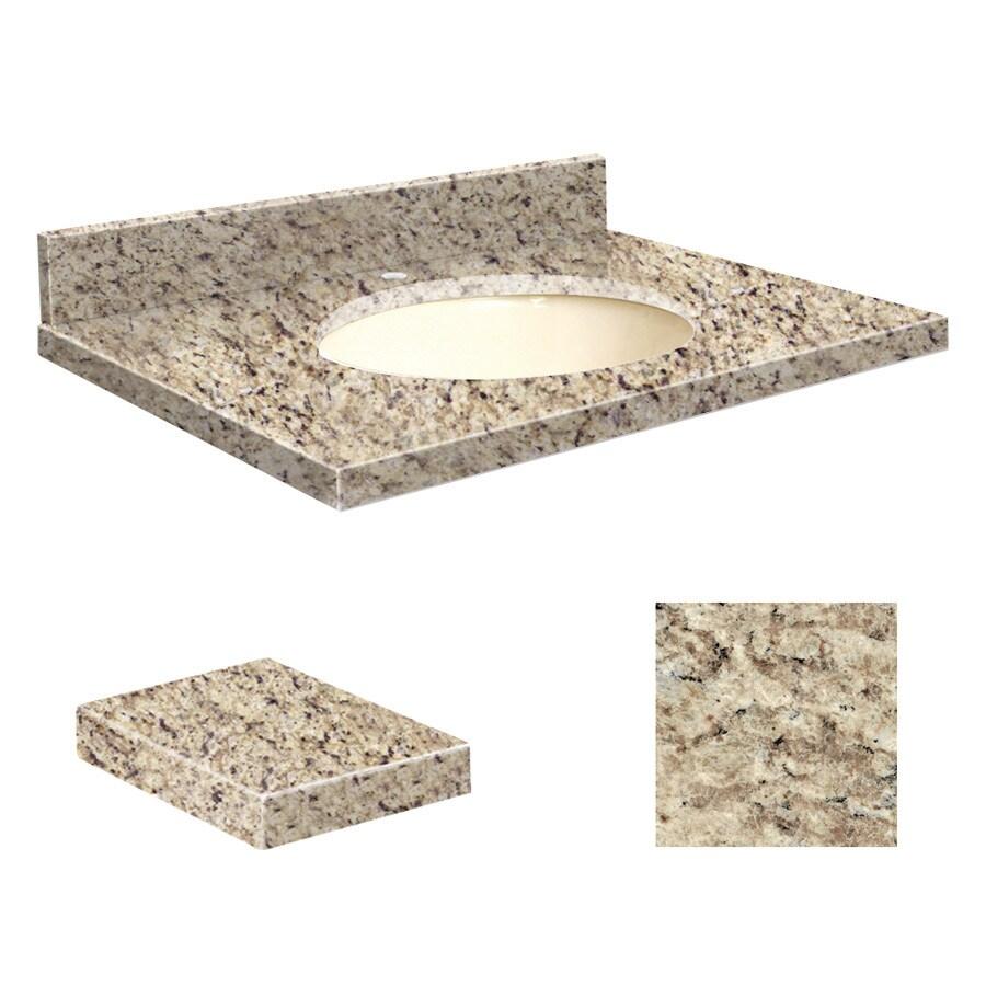 Transolid Giallo Ornamental Granite Undermount Single Sink Bathroom Vanity Top (Common: 25-in x 19-in; Actual: 25-in x 19.25-in)