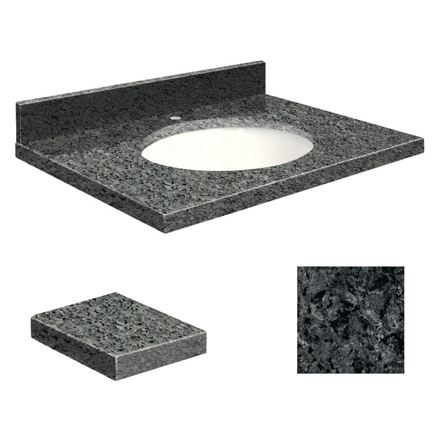 Transolid Blue Pearl Granite Undermount Single Sink Bathroom Vanity Top (Common: 31-in x 19-in; Actual: 31-in x 19.25-in)