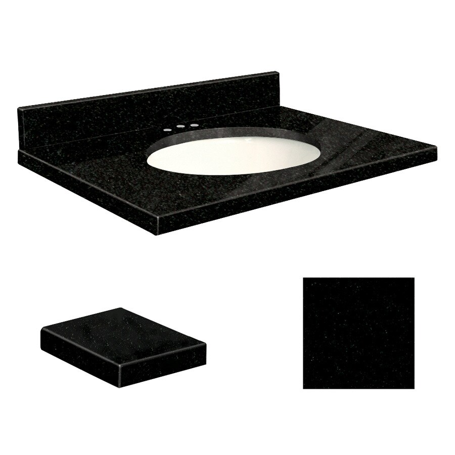Transolid Absolute Black Granite Undermount Single Sink Bathroom Vanity Top (Common: 31-in x 19-in; Actual: 31-in x 19.25-in)