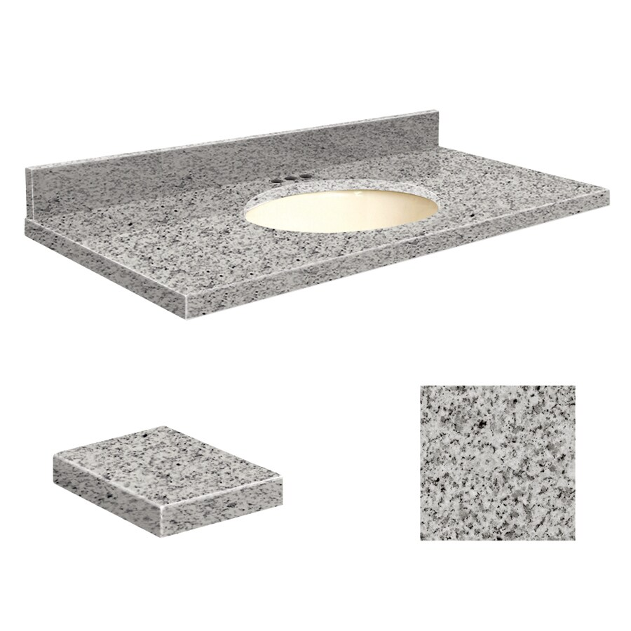 Transolid Rosselin White Granite Undermount Single Sink Bathroom Vanity Top (Common: 37-in x 19-in; Actual: 37-in x 19.25-in)