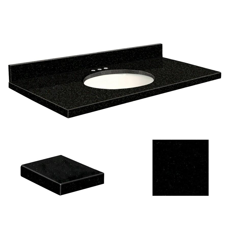 Transolid Absolute Black Granite Undermount Single Sink Bathroom Vanity Top (Common: 49-in x 22-in; Actual: 49-in x 22.25-in)