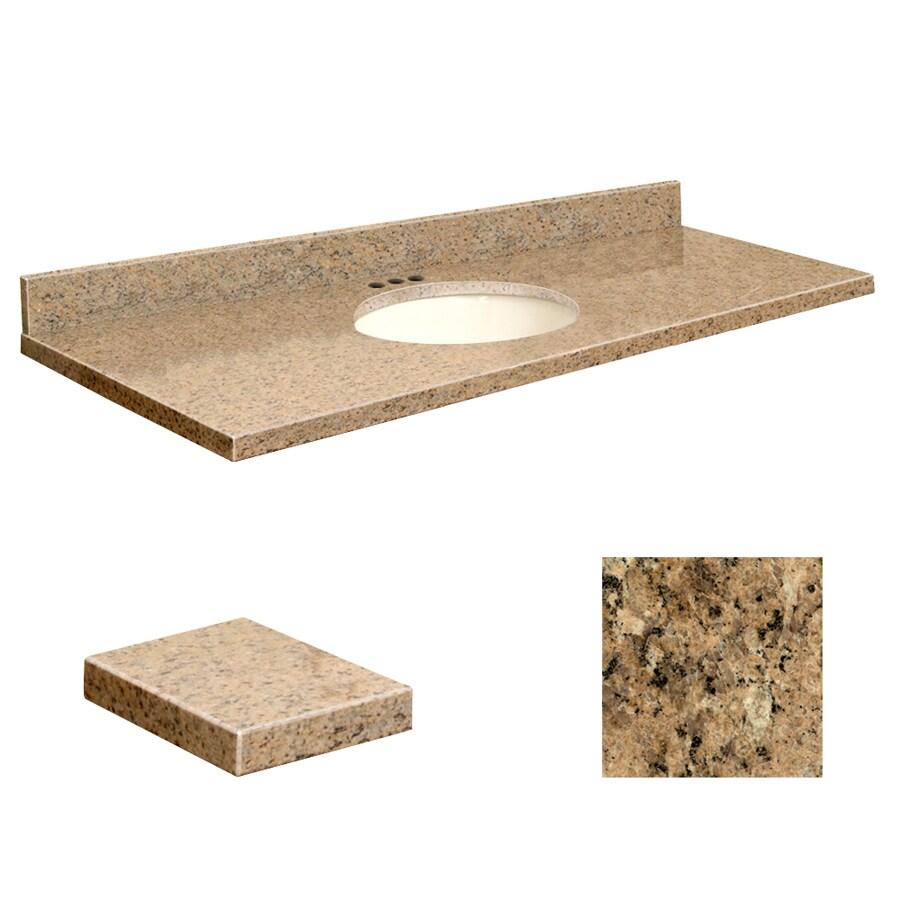 Transolid Giallo Veneziano Granite Undermount Single Sink Bathroom Vanity Top (Common: 61-in x 22-in; Actual: 61-in x 22.25-in)