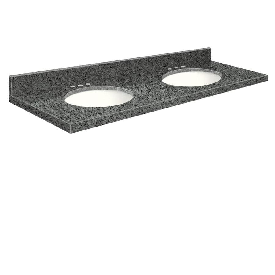 Transolid Blue Pearl Granite Undermount Double Sink Bathroom Vanity Top (Common: 61-in x 22-in; Actual: 61-in x 22.25-in)