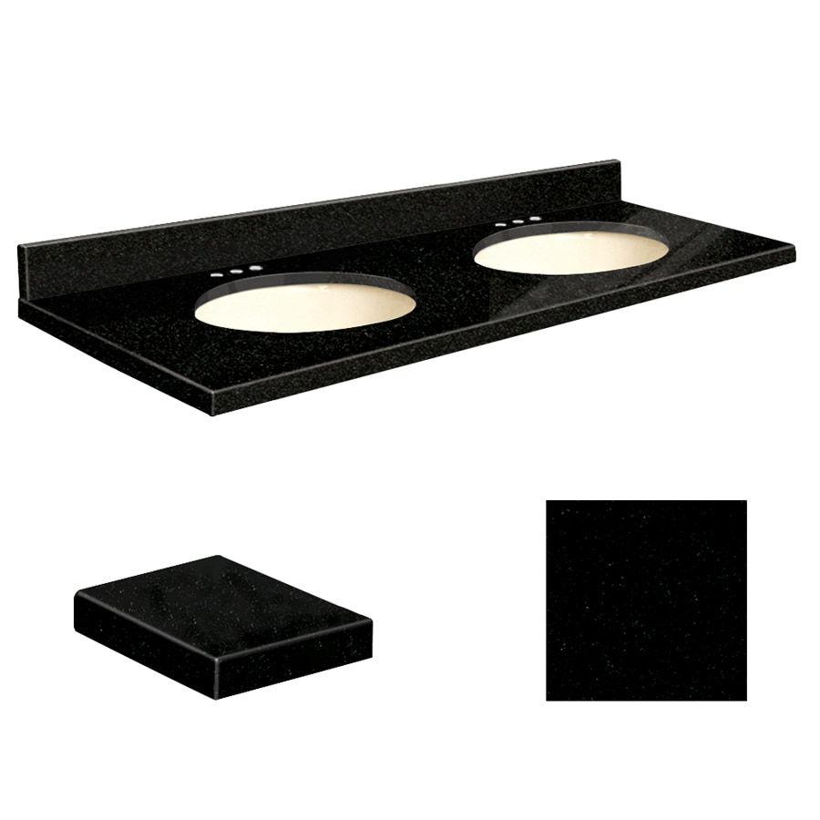 Transolid Absolute Black Granite Undermount Double Sink Bathroom Vanity Top (Common: 61-in x 22-in; Actual: 61-in x 22.25-in)