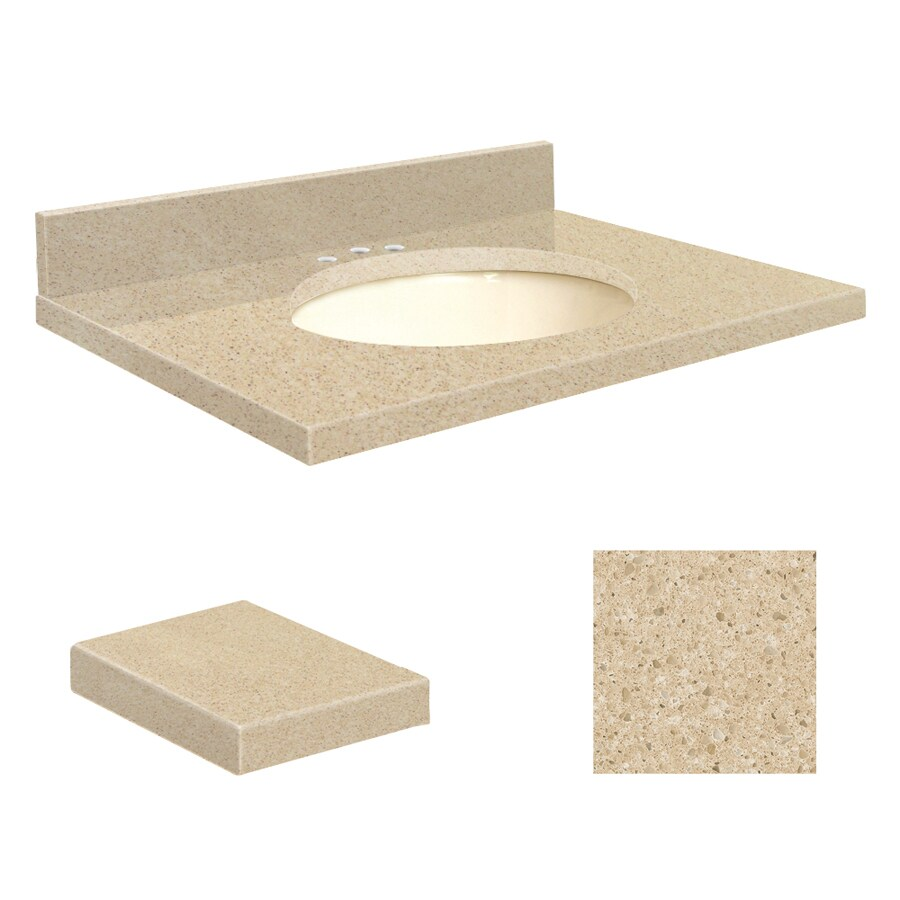 Transolid Durum Cream Quartz Undermount Single Sink Bathroom Vanity Top (Common: 25-in x 19-in; Actual: 25-in x 19.25-in)