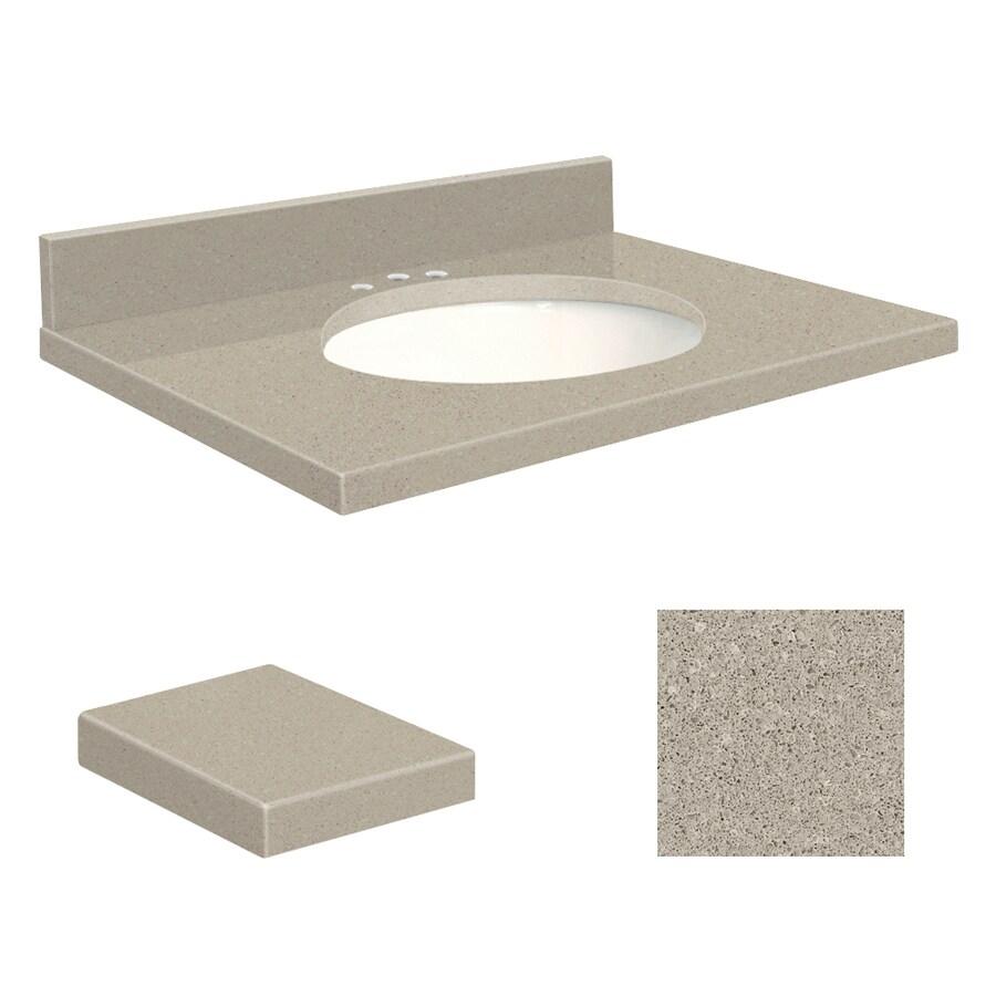 Transolid Olympia Gray Quartz Undermount Single Sink Bathroom Vanity Top (Common: 25-in x 19-in; Actual: 25-in x 19.25-in)