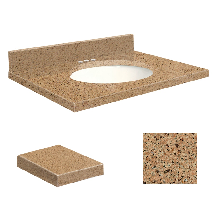 Transolid Umbria Brown Quartz Undermount Single Sink Bathroom Vanity Top (Common: 25-in x 22-in; Actual: 25-in x 22.25-in)