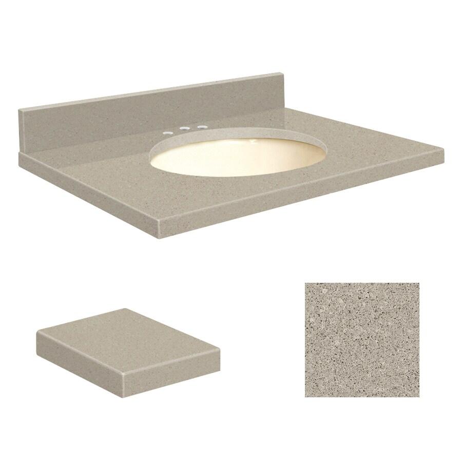 Transolid Olympia Gray Quartz Undermount Single Sink Bathroom Vanity Top (Common: 25-in x 22-in; Actual: 25-in x 22.25-in)