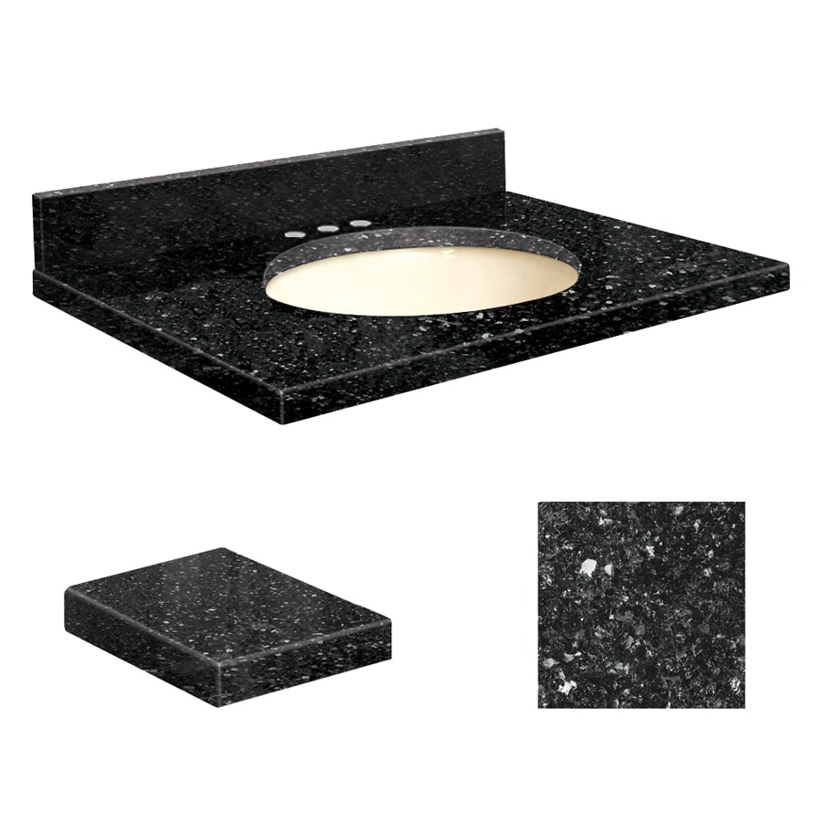 Transolid Notte Black Quartz Undermount Single Sink Bathroom Vanity Top (Common: 31-in x 19-in; Actual: 31-in x 19.25-in)