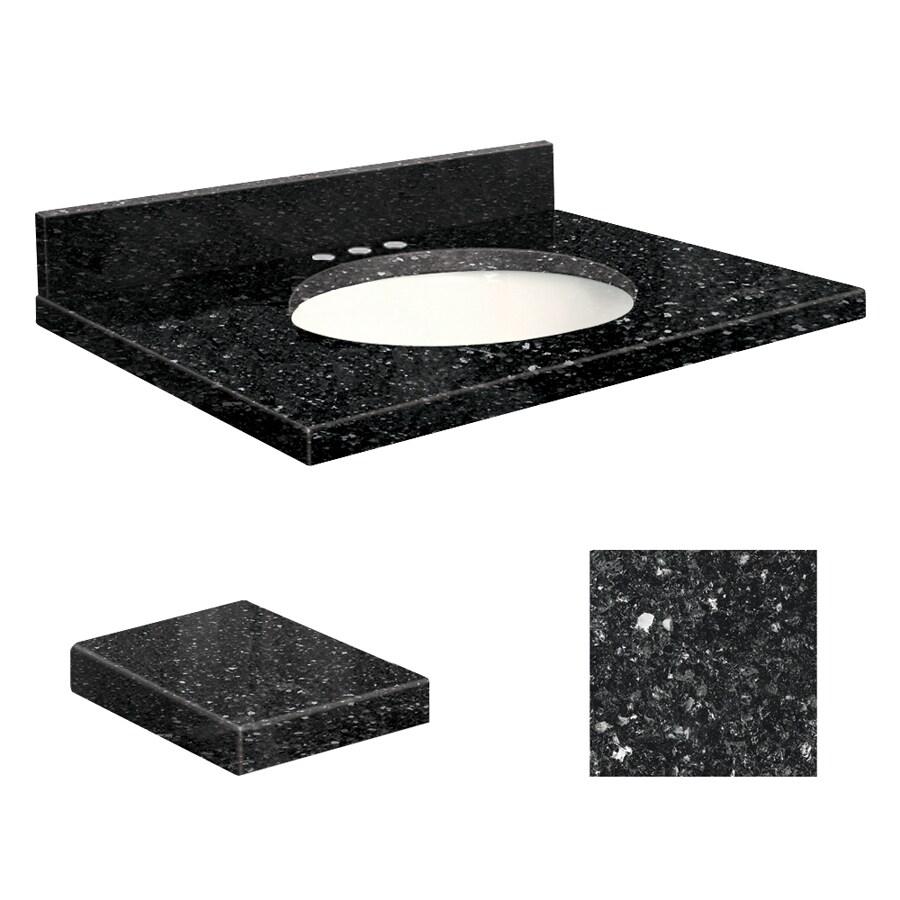 Transolid Notte Black Quartz Undermount Single Sink Bathroom Vanity Top (Common: 31-in x 19-in; Actual: 31-in x 19-in)