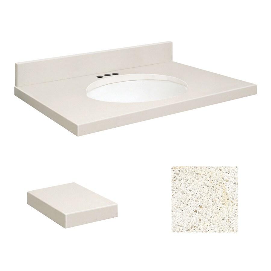 Transolid Milan White Quartz Undermount Single Sink Bathroom Vanity Top (Common: 31-in x 22-in; Actual: 31-in x 22-in)