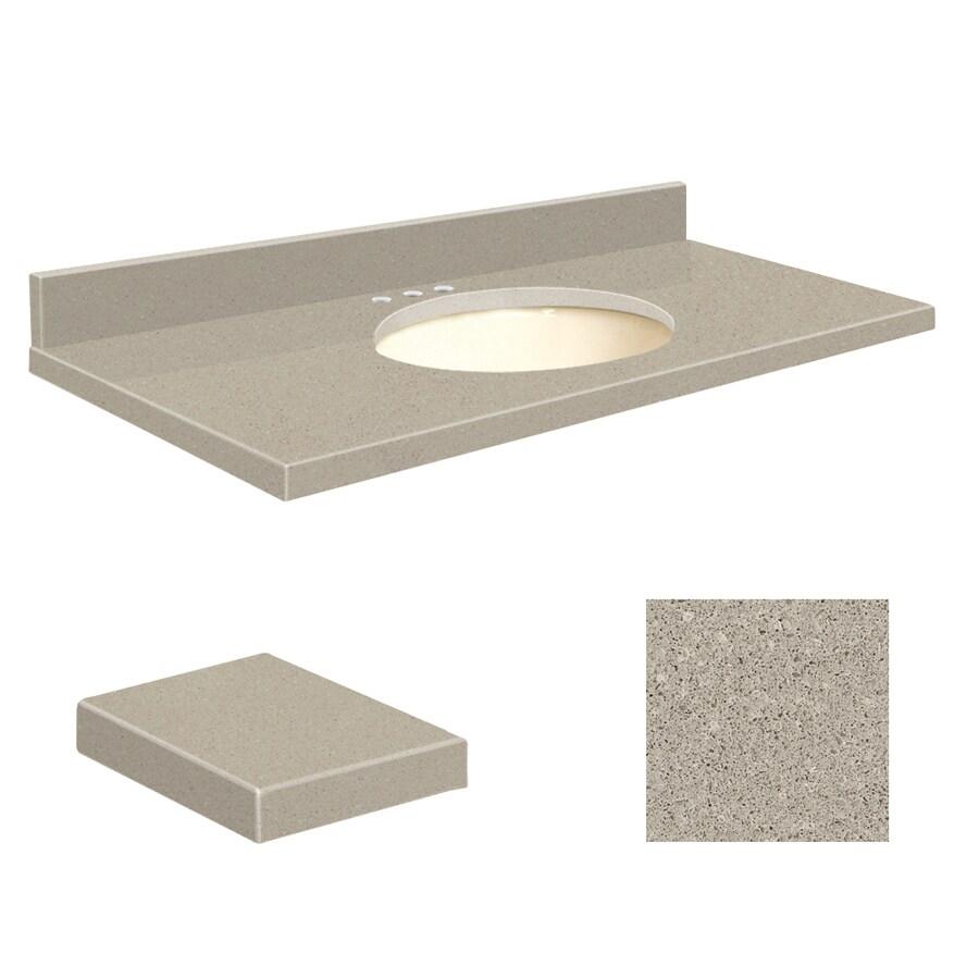 Transolid Olympia Gray Quartz Undermount Single Sink Bathroom Vanity Top (Common: 37-in x 19-in; Actual: 37-in x 19-in)