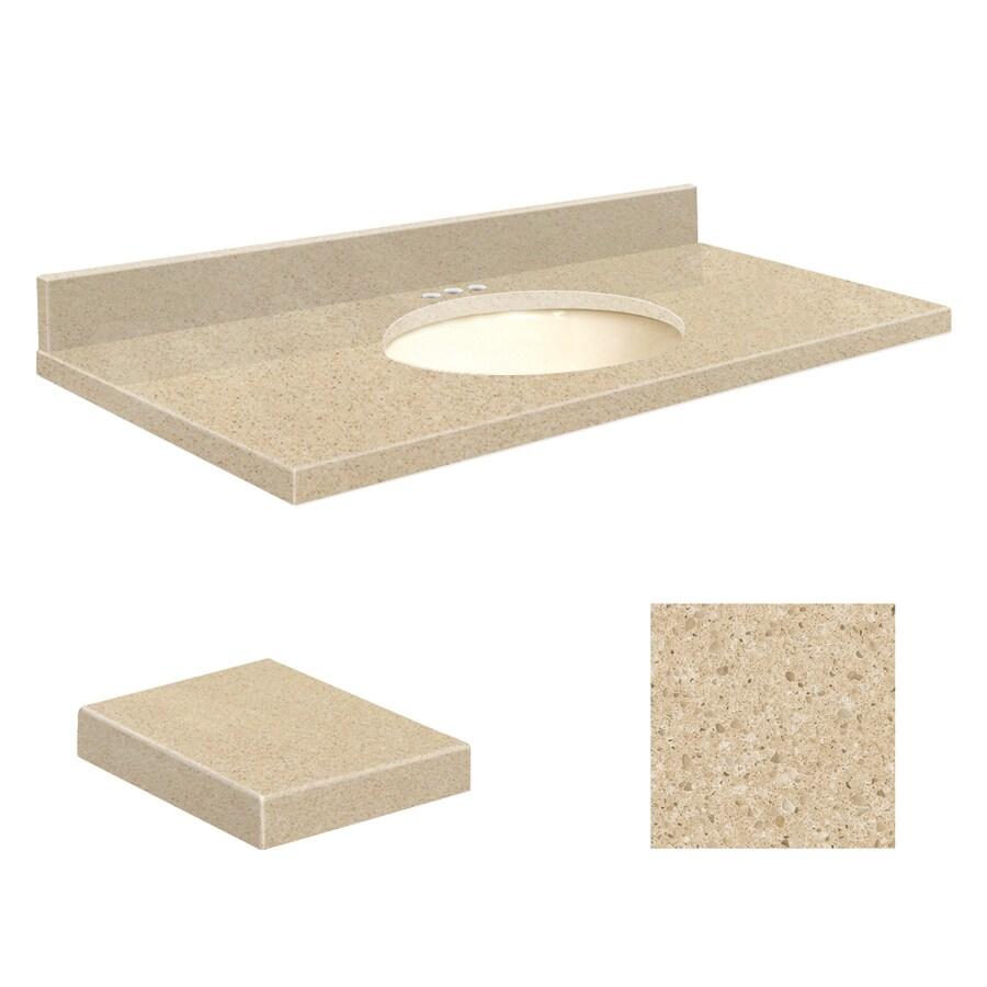 Transolid Durum Cream Quartz Undermount Single Sink Bathroom Vanity Top (Common: 43-in x 22-in; Actual: 43-in x 22-in)