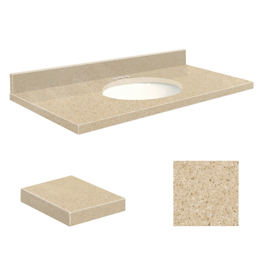 Transolid Durum Cream Quartz Undermount Single Sink Bathroom Vanity Top (Common: 43-in x 22-in; Actual: 43-in x 22-in)
