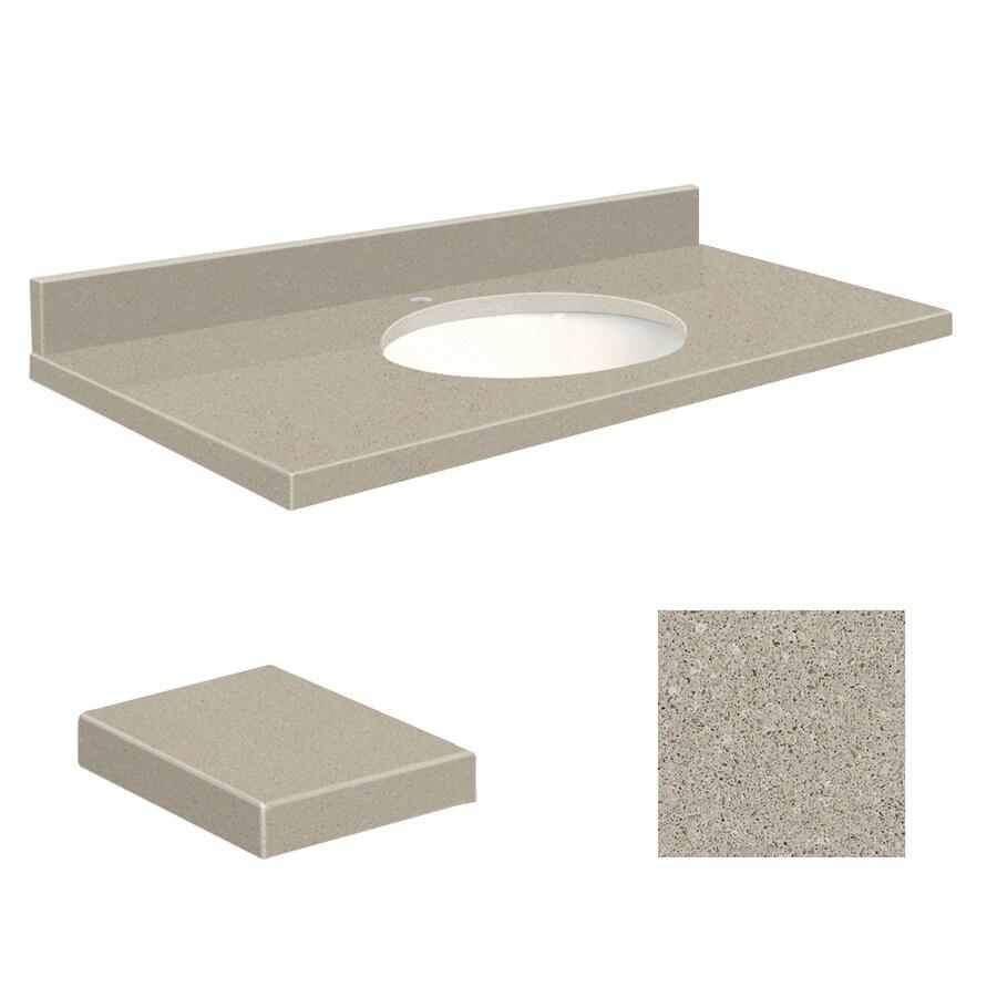 Transolid Olympia Gray Quartz Undermount Single Sink Bathroom Vanity Top (Common: 49-in x 22-in; Actual: 49-in x 22-in)