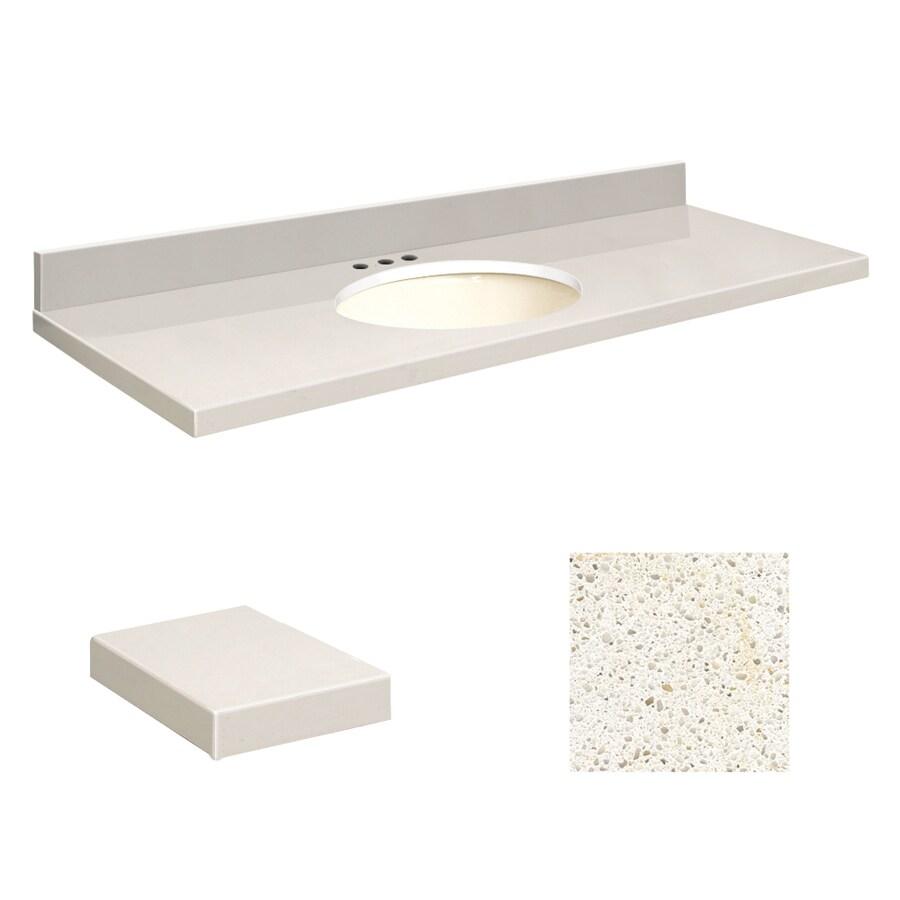 Transolid Milan White Quartz Undermount Single Sink Bathroom Vanity Top (Common: 61-in x 22-in; Actual: 61-in x 22-in)