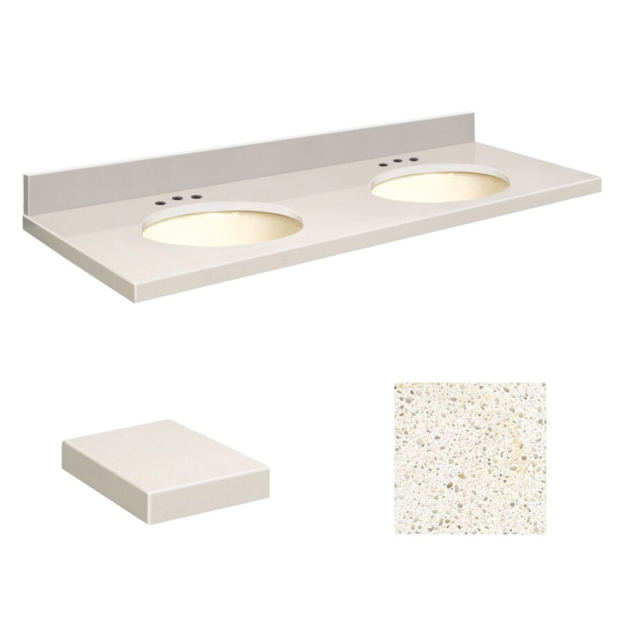 Transolid Milan White Quartz Undermount Double Sink Bathroom Vanity Top (Common: 61-in x 22-in; Actual: 61-in x 22-in)