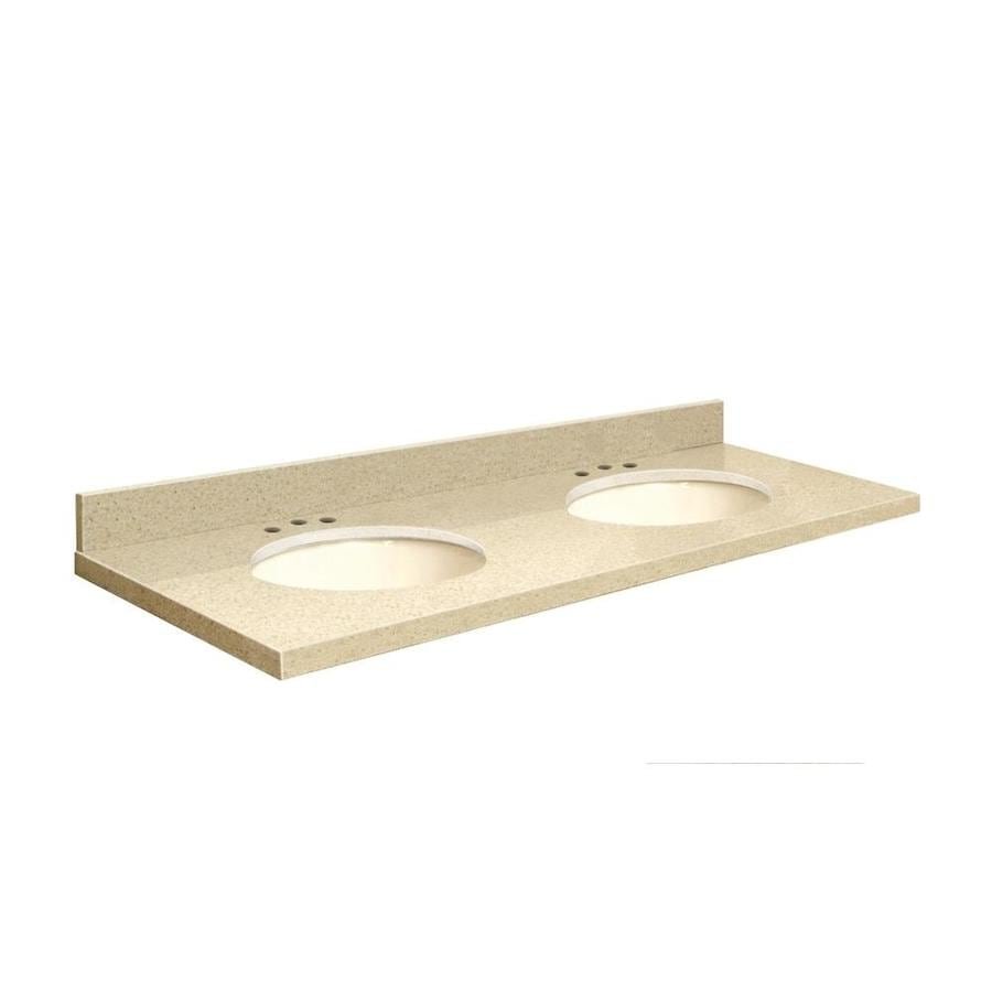 Transolid Nature's Path Quartz Undermount Double Sink Bathroom Vanity Top (Common: 61-in x 22-in; Actual: 61-in x 22-in)