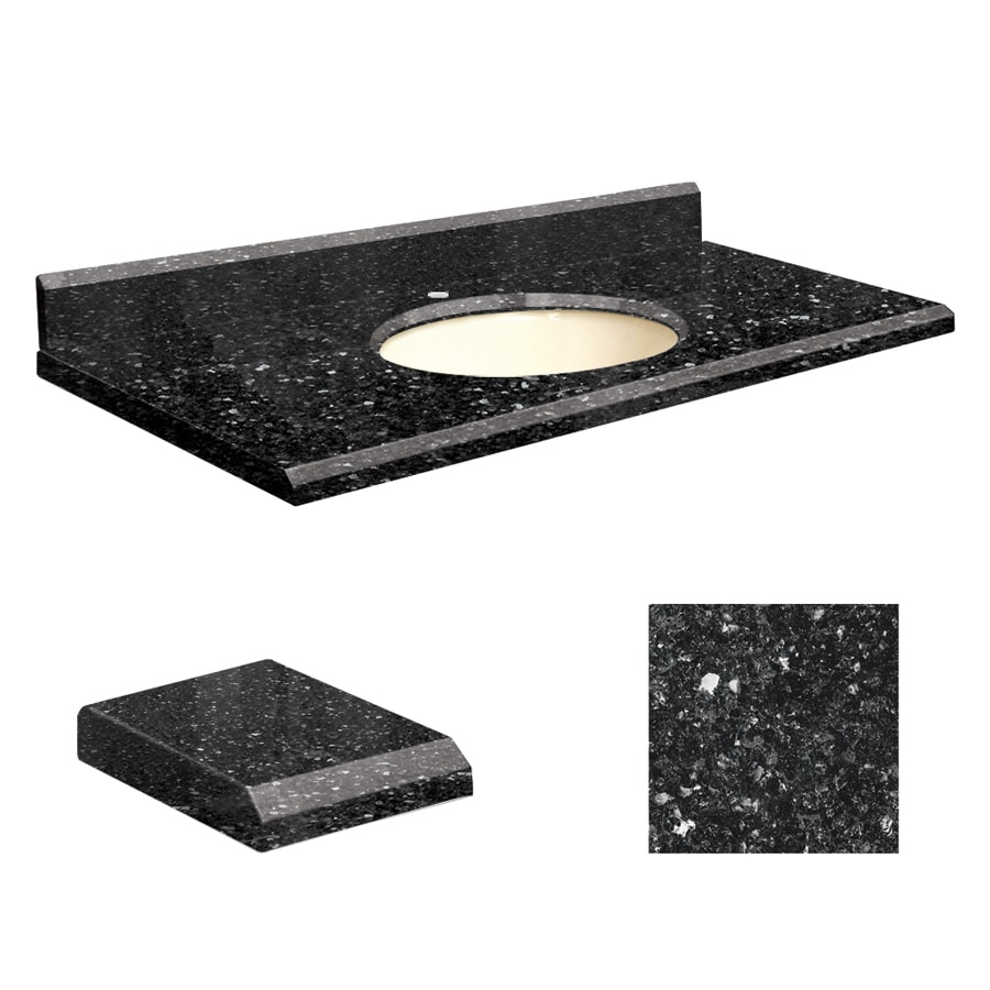 Transolid Notte Black Quartz Undermount Single Sink Bathroom Vanity Top (Common: 43-in x 22-in; Actual: 43-in x 22.25-in)