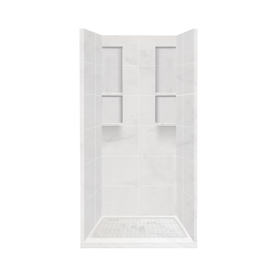 Style Selections White Carrara Solid Surface Wall and Floor 4-Piece Alcove Shower Kit (Common: 36-in x 36-in; Actual: 83-in x 36-in x 36-in)