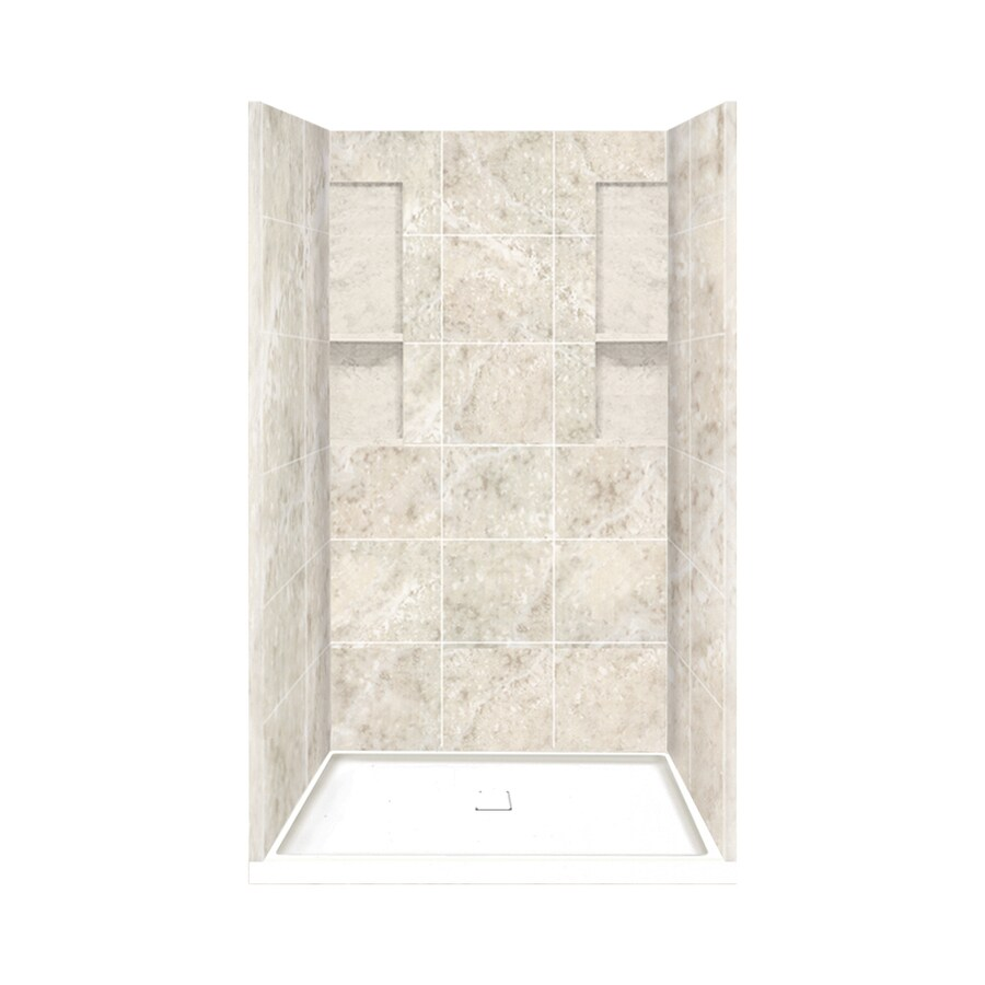 Style Selections Silver Mocha Solid Surface Wall and Floor 4-Piece Alcove Shower Kit (Common: 34-in x 48-in; Actual: 83-in x 34-in x 48-in)