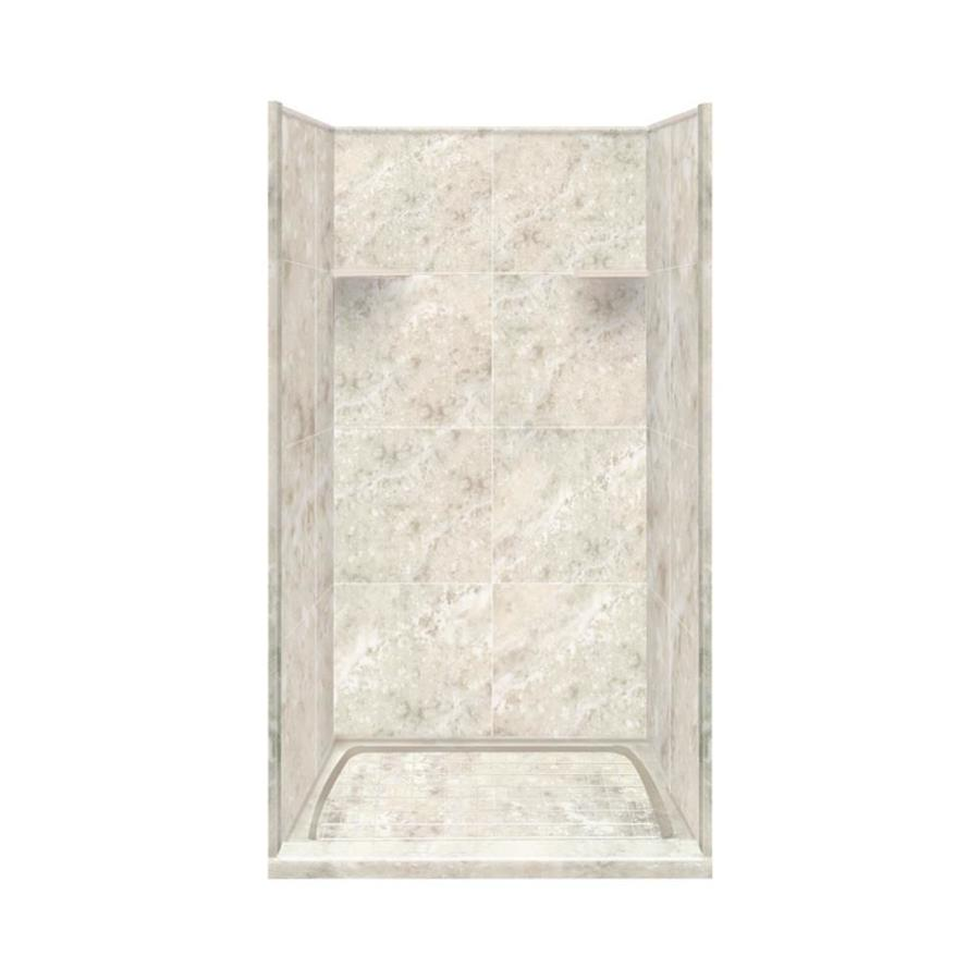 Style Selections Silver Mocha Solid Surface Wall and Floor 4-Piece Alcove Shower Kit (Common: 36-in x 36-in; Actual: 75-in x 36-in x 36-in)