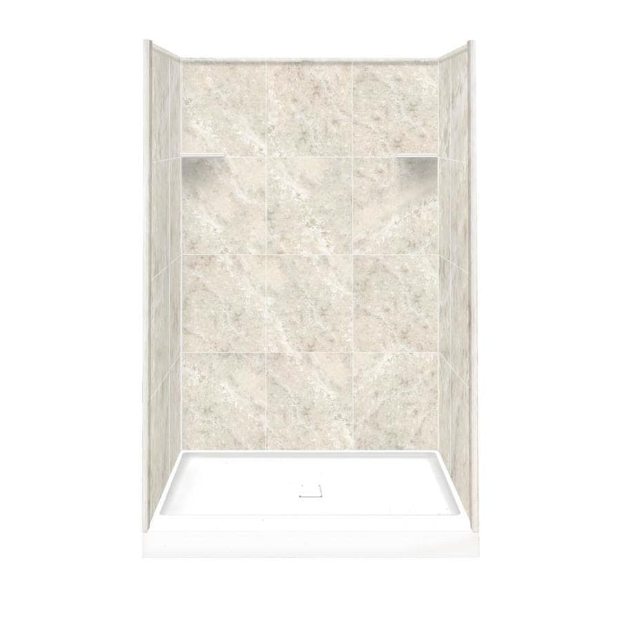 Style Selections Silver Mocha Solid Surface Wall and Floor 4-Piece Alcove Shower Kit (Common: 34-in x 48-in; Actual: 75-in x 34-in x 48-in)