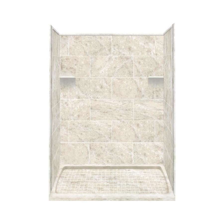 Style Selections Silver Mocha Solid Surface Wall and Floor 4-Piece Alcove Shower Kit (Common: 36-in x 60-in; Actual: 75-in x 36-in x 60-in)