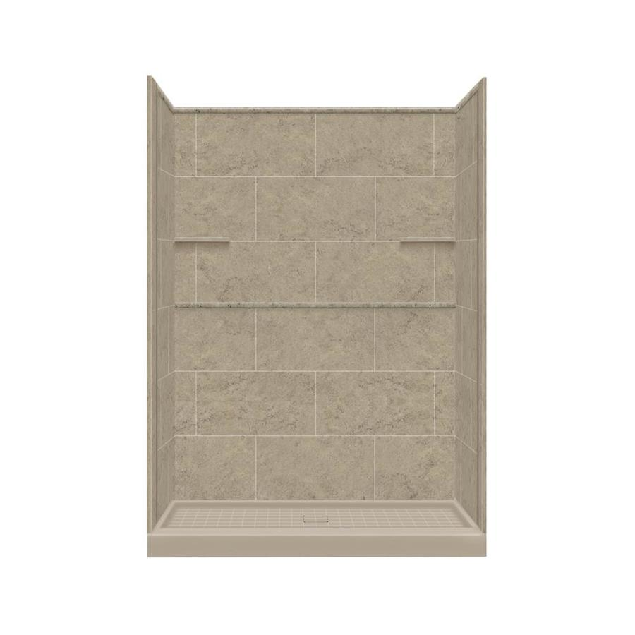 Style Selections Sand Mountain Solid Surface Wall and Floor 4-Piece Alcove Shower Kit (Common: 36-in x 60-in; Actual: 75-in x 36-in x 60-in)